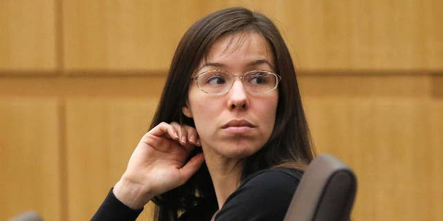 FILE - This Jan. 9, 2013 file photo shows Jodi Arias appearing for her trial in Maricopa County Superior court in Phoenix. A judge will permit live video coverage of convicted murderer Jodi Arias' sentencing on April 13, 2015. But Maricopa County Superior Court spokeswoman Karen Arra said in an email Monday, April 6, 2015, that some footage could be excluded because some witnesses may not want to be photographed. Judge Sherry Stephens will decide whether Arias will spend the rest of her life in prison for killing her lover or be eligible for possible release after serving 25 years. (AP Photo/Matt York, File)