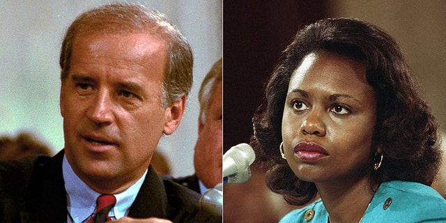 Former Vice President Joe Biden,left, served as chairman of the Senate Judiciary Committee in 1991 when Anita Hill, right, testified allegations of sexual misconduct by then-Supreme Court nominee Judge Clarence Thomas.