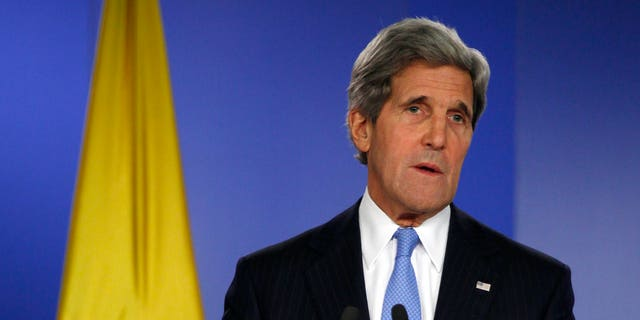 Former U.S. Secretary of State John Kerry speaks during a news conference in Bogota, Colombia on Aug. 12, 2013.