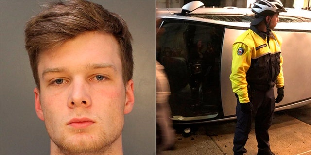 John Rigsby, 20, is accused of helping overturn an SUV in Philadelphia after the Eagles won the Super Bowl.