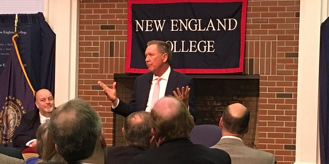 """Kasich delivered a speech at New England College, saying, """"I am trying to be a voice that brings about stability and objectivity in our country."""""""