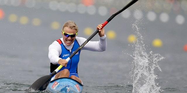Aug. 7, 2012: Italy's Josefa Idem paddles on her way to winning a women's kayak single 500m semifinal in Eton Dorney, near Windsor, England, at the 2012 Summer Olympics.