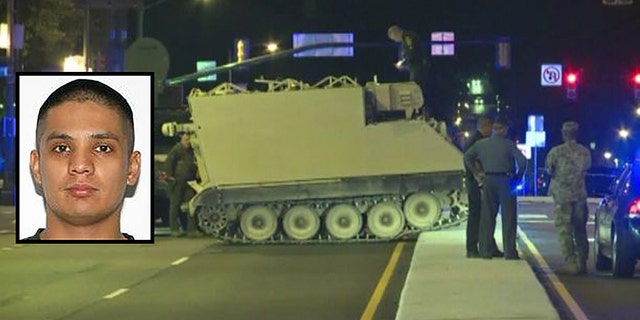 A 60-mile chase involving an armored personnel carrier came to an end in Richmond on Tuesday. Joshua Philip Yabut was arrested for driving under the influence of drugs in addition to being charged with felony counts of eluding police and unauthorized use of a vehicle, police said.