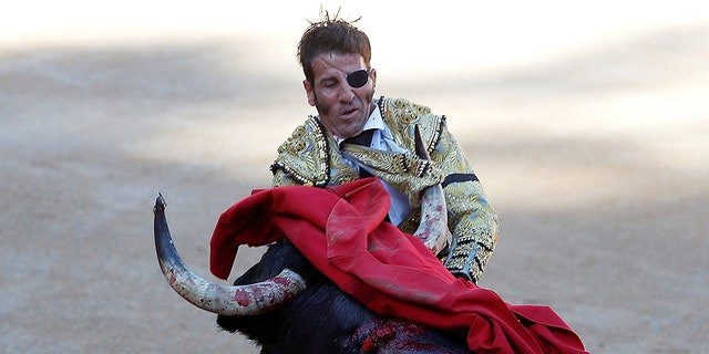 In 2016, the horn of a bull tears the suit of Spanish bullfighter Juan Jose Padilla during a bullfight at the San Fermin Festival in Pamplona.