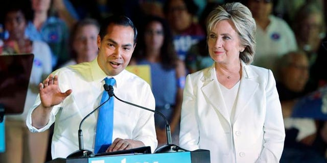 HUD Secretary Julian Castro and Democratic presidential candidate Hillary Rodham Clinton.