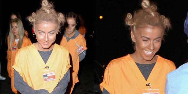 """Julianne Hough and her friends disguised as jailbirds from the Netflix hit """"Orange is the New Black"""". Hough was struck for putting on a """"black face"""" as he tried to portray the character of Crazy Eyes."""
