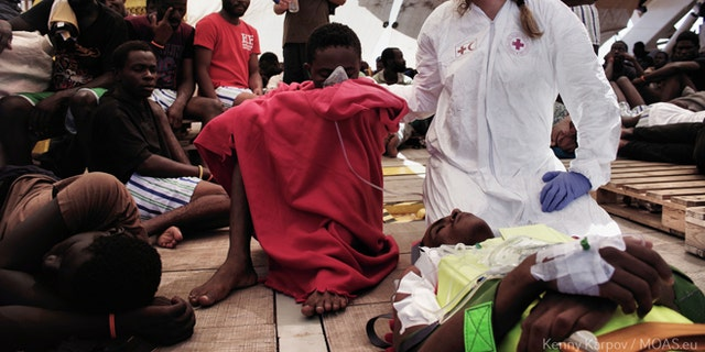 Once on board, migrants are fed, given clothing and provided with medical treatment.