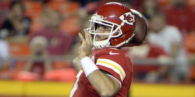 Aug 28, 2015; Kansas City, MO, USA; Kansas City Chiefs quarterback Aaron Murray (7) throws a pass against the Tennessee Titans in the second half at Arrowhead Stadium. Kansas City won the game 34-10. Mandatory Credit: John Rieger-USA TODAY Sports