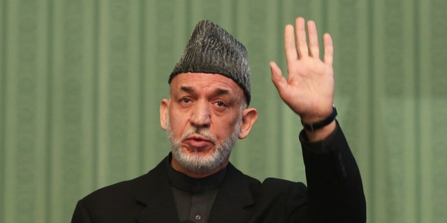 Jan. 25, 2014: Afghan President Hamid Karzai speaks during a press conference at the presidential palace in Kabul, Afghanistan.
