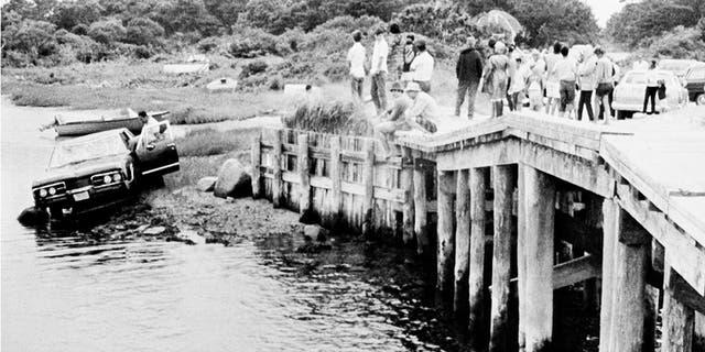 The scene of the Chappaquiddick incident on Chappaquiddick Island, Massachusetts in 1969.