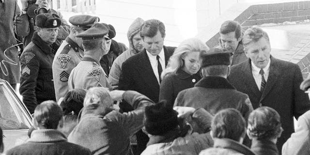 Sen. Ted Kennedy, D-Mass., coming out of a court room in 1970.