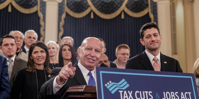 Chairman of the House Ways and Means Committee, Rep. Kevin Brady, R-Texas, and House Speaker Paul Ryan, R-Wis., on Capitol Hill introducing the House tax bill this fall.
