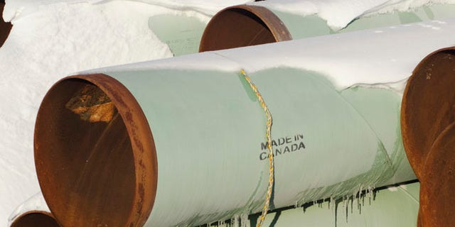 FILE: November 14, 2014: A depot used to store pipes for Transcanada Corp's planned Keystone XL oil pipeline is seen in Gascoyne, North Dakota.