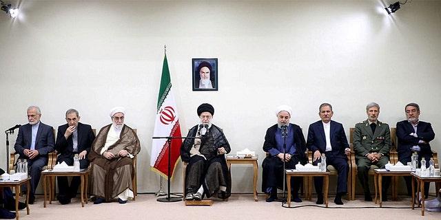 Iranian President Hassan Rouhani and his cabinet meet the Supreme Leader Ayatollah Ali Khamenei in Tehran.