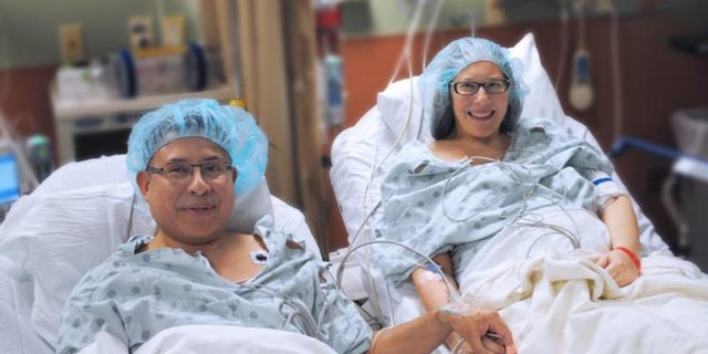 "Dr. Juan Arenas, a surgeon and chief of the hospital's Memorial Transplant Institute said, ""To find a match between spouses is very unusual but very lucky for us to be able to find that."""