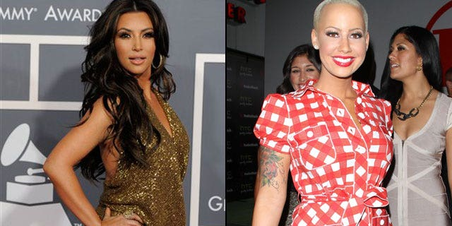 Amber Rose (right) reportedly thinks Kim Kardashian is a homewrecker (AP/X17 Online)