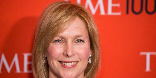 In this April 29, 2014 photo, U.S. Senator Kirsten Gillibrand, D-N.Y.,  arrives at the Time 100 gala in New York.