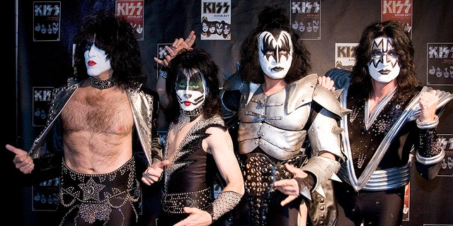 Paul Stanley, Eric Singer, Gene Simmons and Tommy Thayer (L-R) of the U.S. rock group KISS pose for photographers at the Koenig-Pilsener-Arena in Oberhausen, May 8, 2008. On Wednesday, the group announced their farewell tour, 'End of the Road.'