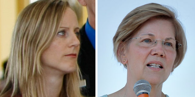FILE -- Kathy Kraninger, President Trump's nominee to become director of the Consumer Financial Protection Bureau, Sen. Elizabeth Warren, D-Mass.
