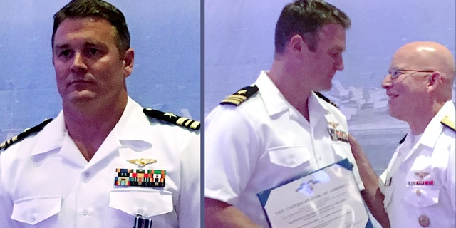 """U.S. Navy pilot Lt. Cmdr.  Mike """"MOB"""" Tremel, left, received the Distinguished Flying Cross for shooting down a Syrian jet in 2017 —  the first air-to-air kill for the U.S. military in 18 years. The award was presented by the head of naval aviation, Vice Admiral DeWolfe Miller III, right, over the weekend.  (U.S. Naval Air Force)"""