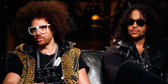 April 28, 2011: Redfoo (Stefan Kendal Gordy) and SkyBlu (Skyler Gordy) of LMFAO tape an episode of Top Twenty Countdown at fuse Studios on in New York City.