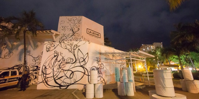 """The restaurant """"La Leche"""" (the milk) is seen on August 16, 2016 in Puerto Vallarta, in the western Mexican state of Jalisco, where a Jesus Alfredo Guzman Salazar, son of drug lord Joaquin """"El Chapo"""" Guzman, was among a group kidnapped, authorities confirmed Tuesday. Seven gunmen in pickup trucks swooped on the upscale bar and restaurant around dawn and abducted several victims. Investigators said it was likely part of a settling of scores between rival drug cartels. / AFP / HECTOR GUERRERO        (Photo credit should read HECTOR GUERRERO/AFP/Getty Images)"""