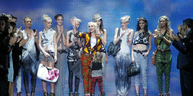 Sept. 16: Designer Gwen Stefani acknowledges the audience after the L.A.M.B. spring 2011 collection show.