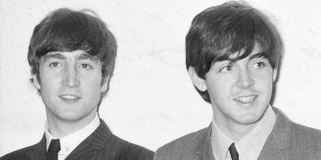 John Lennon and Paul McCartney seen in December 1963