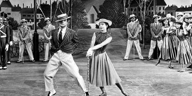 """Leslie Caron in 1951's """"An American in Paris"""" opposite Gene Kelly."""