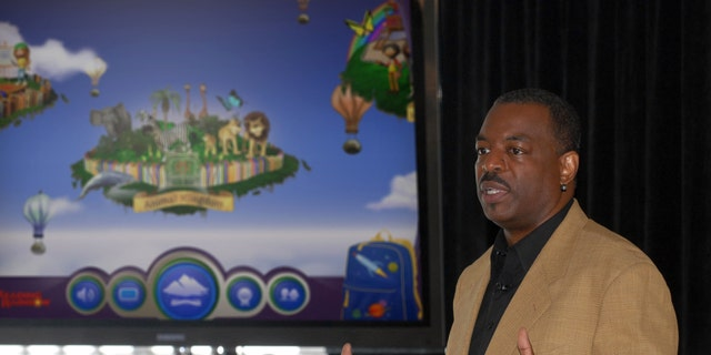"""June 19, 2012. LeVar Burton introducing the all new Reading Rainbow adventure app to the media, publishers and parents at the """"Reading Rainbow Relaunch"""" event in New York."""