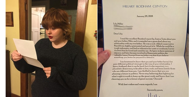 Feb. 3, 2018: Lily Miller, of Waterloo, Iowa, reads a letter she received from Hillary Clinton.