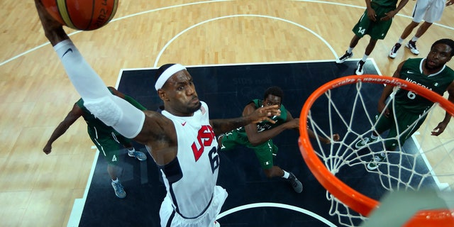 Aug. 2, 2012: Lebron James (6) of the United States shoots against Nigeria during a men's basketball preliminary round match at the 2012 Summer Olympics in London.
