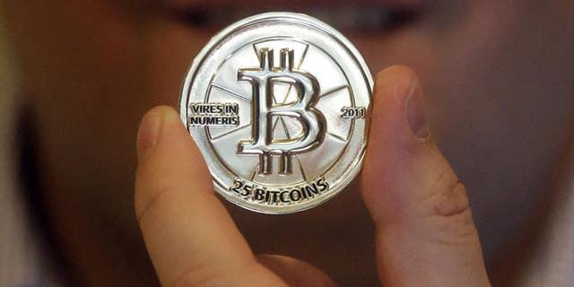 A 25 Bitcoin token is seen in Sandy, Utah.