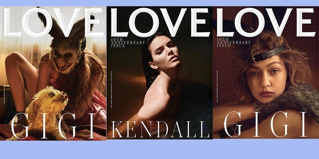 This special 10th anniversary issue of the magazine also features Kendall Jenner and a photo of Gigi Hadid without the animal mask.
