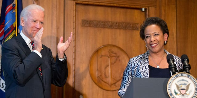 April 27, 2014: Loretta Lynch is sworn in by Vice President Biden as U.S. attorney general, Washington, D.C.
