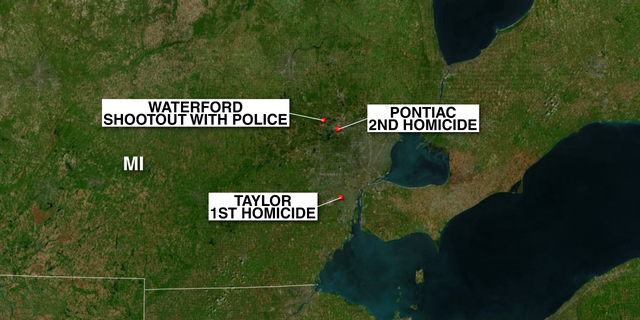 Authorities said the suspect fatally shot one person at a business in Taylor, Michigan, before fatally shooting a second person in Pontiac. The suspect then went to a third business in Waterford with the alleged intent to kill someone there as well.
