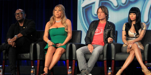 "Jan. 08, 2013: (L-R) Judges Randy Jackson, Mariah Carey, Keith Urban and Nicki Minaj of ""American Idol"" speak onstage during the FOX portion of the 2013 Winter TCA Tour at Langham Hotel in Pasadena, Calif."