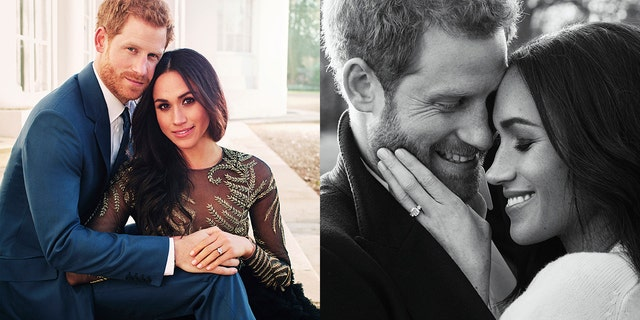 Prince Harry and Meghan Markle pose for official engagement portraits.