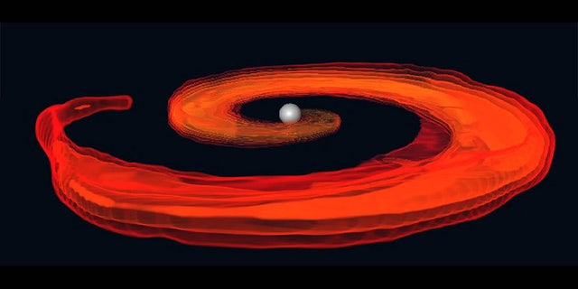 An artist's depiction of a neutron star and a black hole colliding.