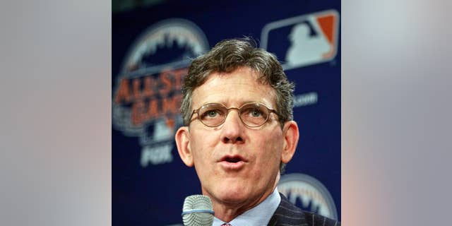 FILE - In this April 24, 2013, file photo, Major League Baseball Executive Vice President Tim Brosnan speaks during a news conference in New York. Brosnan will leave at the end of January. Brosnan was one of three candidates in August to become baseball's next commissioner, but he withdrew just before the start of balloting when it became apparent he likely had just one vote. Brosnan thanks outgoing Commissioner Bud Selig and MLB owners in a release from the league Wednesday, Dec. 3, 2014.  (AP Photo/Bebeto Matthews, File)