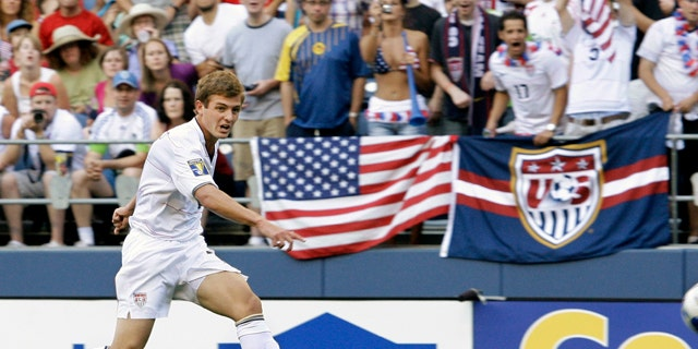 FILE: United States' Robbie Rogers kicks against Grenada in a CONCACAF Gold Cup match at Qwest Field in Seattle.