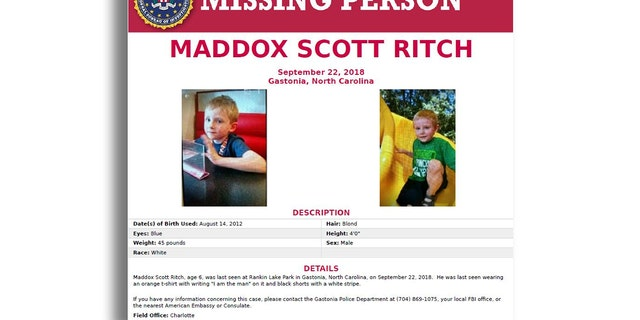 Maddox Ritch was at Rankin Lake Park in Saturday when he went missing.