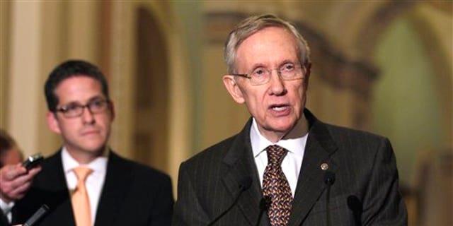 April 12: Senate Majority Leader Harry Reid of Nev. speaks to media on Capitol Hill in Washington.