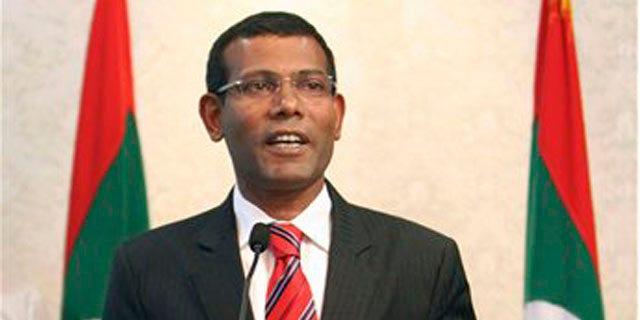Feb. 7, 2012: Maldives President Mohamed Nasheed announces his resignation in Male, Maldives.