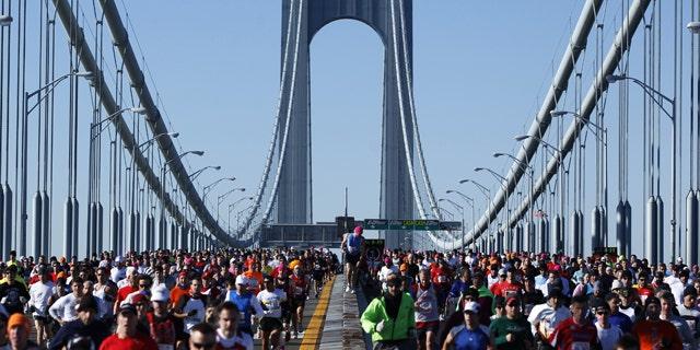 Runners cross the Verrazano-Narrows Bridge during the New York Marathon in 2010.