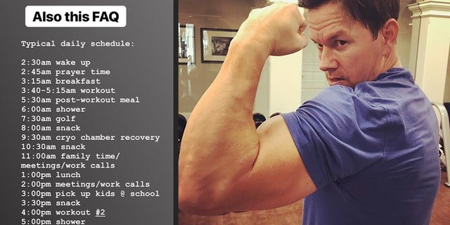 The actor, formerly known as Marky Mark, took to Instagram Tuesday to reveal to his 10 million followers his insane schedule that he does daily.