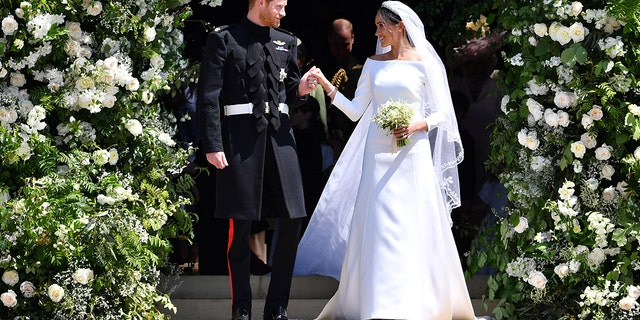 Markle and Harry tied the knot in front of 600 guests on May 19, 2018 at St. George's Chapel at Windsor Castle in Windsor, England.