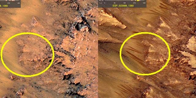 Researchers studying images from a NASA satellite have detected dark patterns (circled) that ebb and flow on Mars -- evidence, perhaps, of a salty brine water.