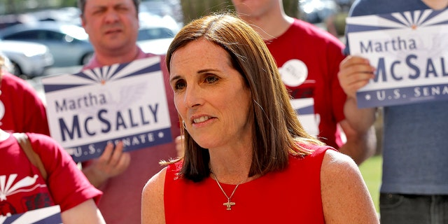 The split in vote between the two hardline candidates has opened the door for establishment favorite Martha McSally (pictured)