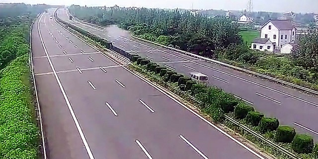 Pic shows: The moment of the accidentThis is the moment a man writes off a Maserati on a motorway going over 110mph after he borrowed it from a friend.Traffic cameras on the Hangzhou-Pudong Expressway show the driver, surnamed Shi, losing control of the pricey sports car before wrecking it outside of the city of Jiaxing in East China's Zhejiang province.The vehicle, which appears to be a 2016 Maserati Ghibli, was lent to Shi by his friend, who was not present at the time of the accident.CCTV footage shows Shi speeding into view on the largely empty motorway but suddenly veering wildly to the right of the expressway before slamming into the crash barriers.Images show the front and side of the Maserati completely destroyed and the airbags having been deployed.Jiaxing traffic police said several dozen feet of the crash barrier were also damaged during the accident, which fortunately involved no other cars.The authorities said they immediately tracked down Shi's contact information and asked him as well as his two passengers to seek shelter by the roadside in order to avoid a secondary accident.Shi admitted to investigators that he had been speeding at the time of the crash, going up to 180 kph (111 mph) in a 120-kph (75-mph) zone.Jiaxing police said they had no reason to doubt Shi's speeding claims, but they would confirm following an independent investigation.Shi and his two passengers survived without serious injury thanks to their seat belts, reports said.It has since been revealed that the owner of the car paid over 1 million RMB (112,651 GBP) for the Maserati after tax.The car's insurer is not expected to pay out in full due to the unlawful cause of the accident, the police said.